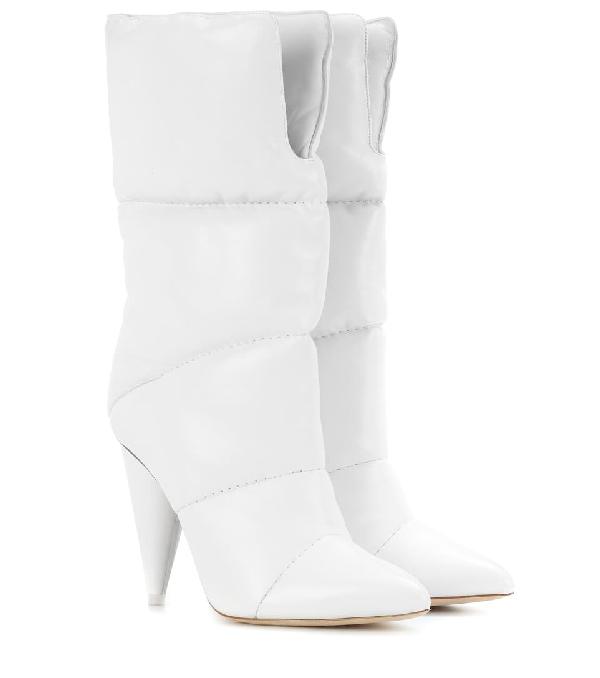 Jimmy Choo Sara 100 Optic White Padded Nappa Leather Mid High Boots