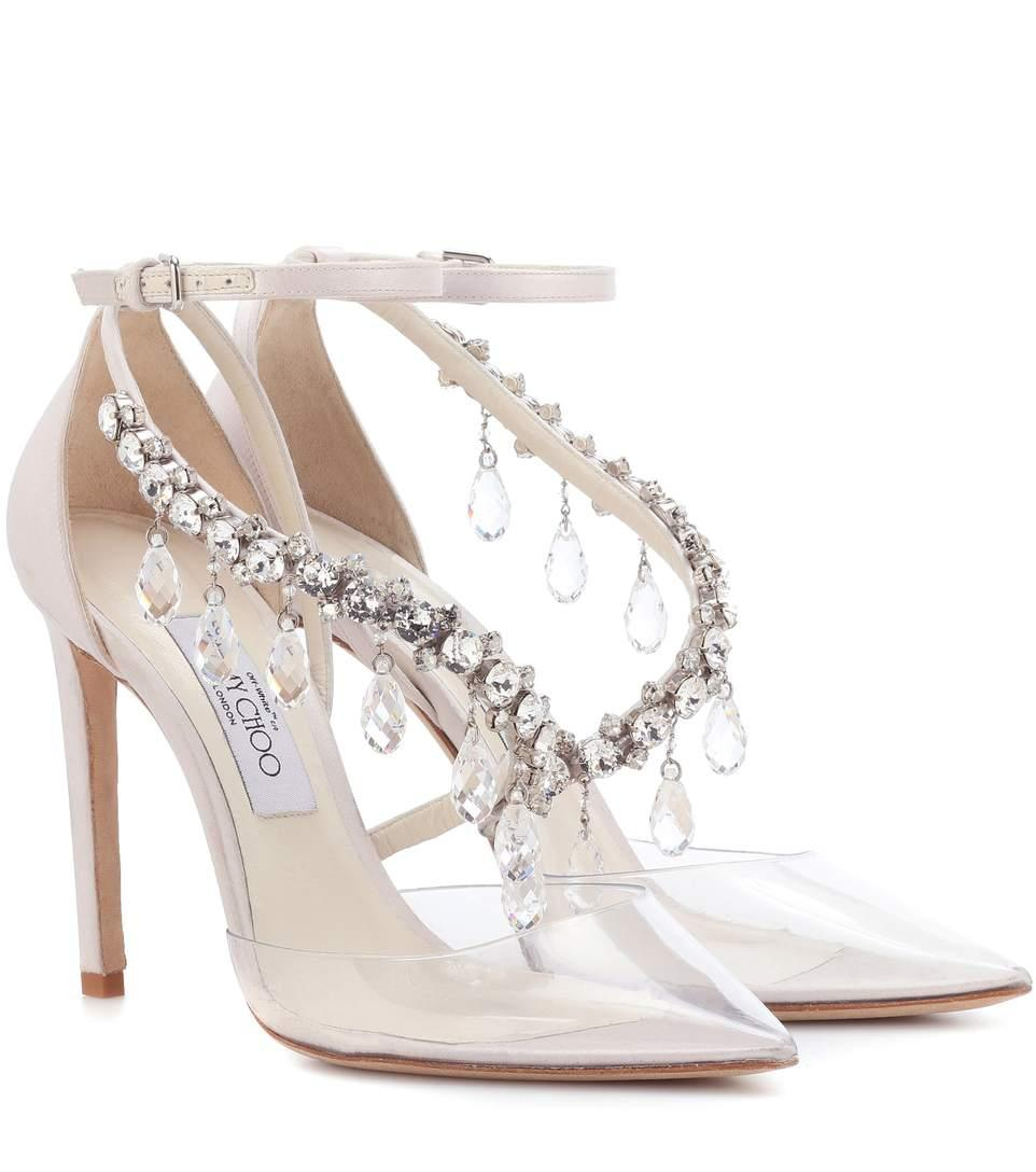 c69d579239db Jimmy Choo Victoria 100 Chalk Satin And Plexi Pointy Toe Pumps With  Swarovski Crystals In Transparent