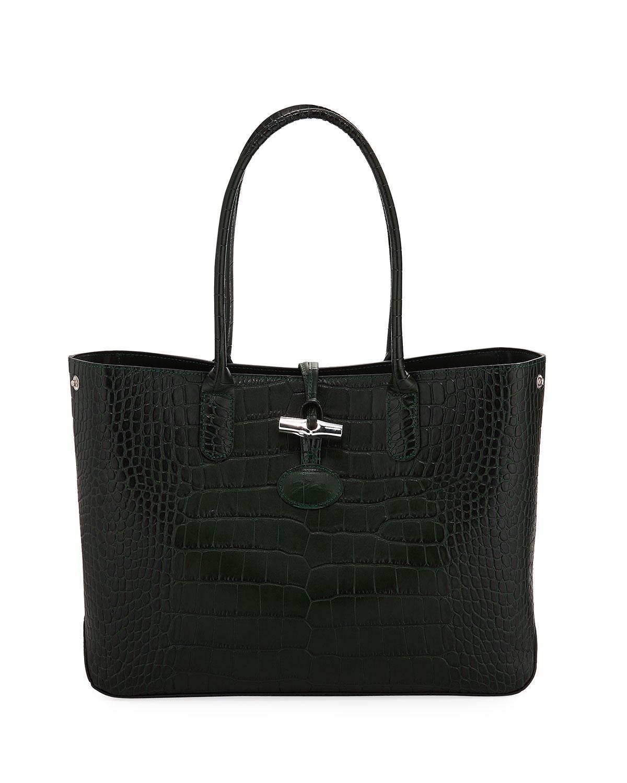 Longchamp Roseau Crocodile-Embossed Tote Bag In Medium Green