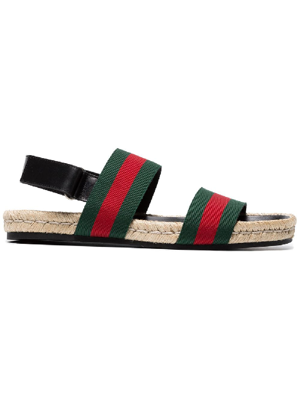 c3ae95d16 Gucci Juan Web-Striped Leather And Canvas Sandals In Green | ModeSens