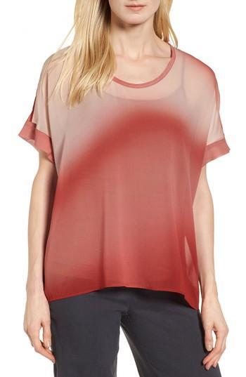 Eileen Fisher Ombre Silk Short Sleeve Top In Serrano