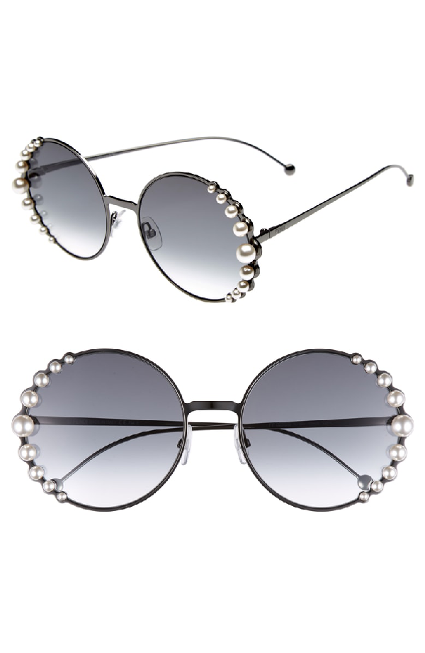 b39833ede7b Fendi Women s Ribbons And Pearls Oversized Round Sunglasses
