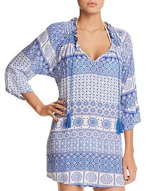 796f9cda86 J. Valdi Tassel Tunic Dress Swim Cover-Up In Blue/White | ModeSens