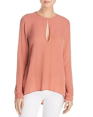 81d8a24189827 Theory Slit Front Silk Georgette Blouse In Pink Russet