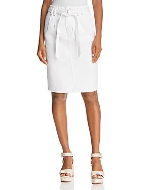 J Brand Tie-waist Straight Knee-length Denim Skirt In White