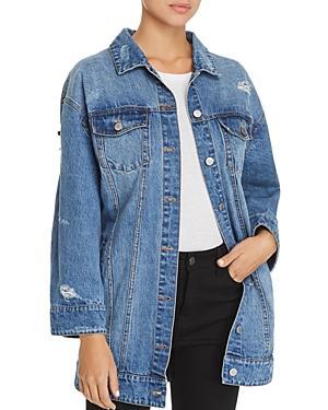 Avec Les Filles Embellished Distressed Denim Jacket - 100% Exclusive In Blue