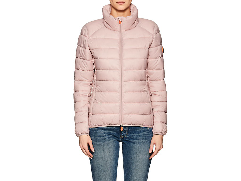 Save The Duck Channel-Quilted Tech-Fabric Jacket In Blush Pink/996