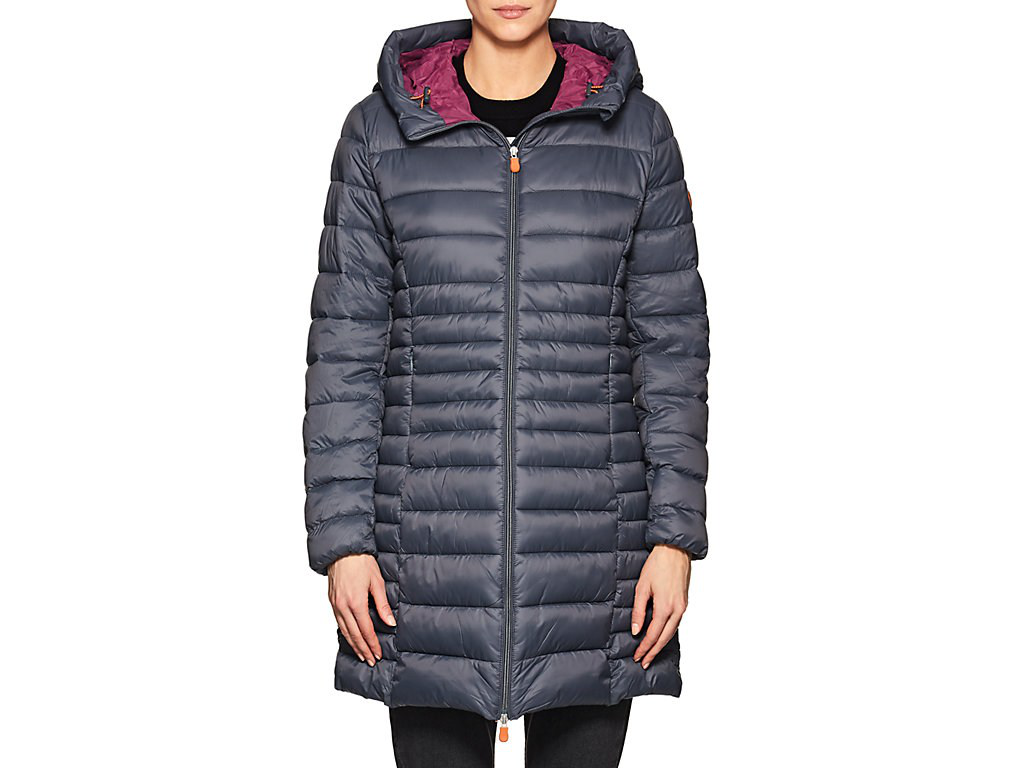 Save The Duck Channel-Quilted Tech-Fabric Hooded Long Coat - 70 Charcoal
