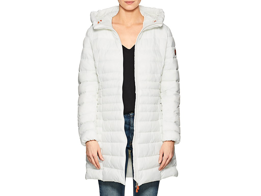 Save The Duck Channel-Quilted Tech-Fabric Hooded Long Coat In White
