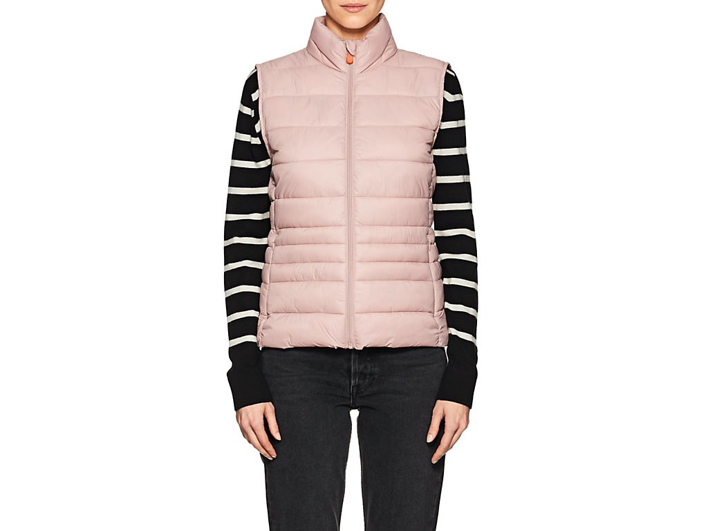 Save The Duck Channel-Quilted Tech-Fabric Vest-Blush Pink,996 In Blush Pink/996