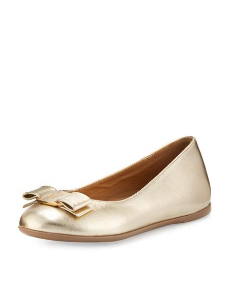 Salvatore Ferragamo Varina Mini Leather Ballet Flats, Toddler/Youth Sizes 10T-2Y In Gold