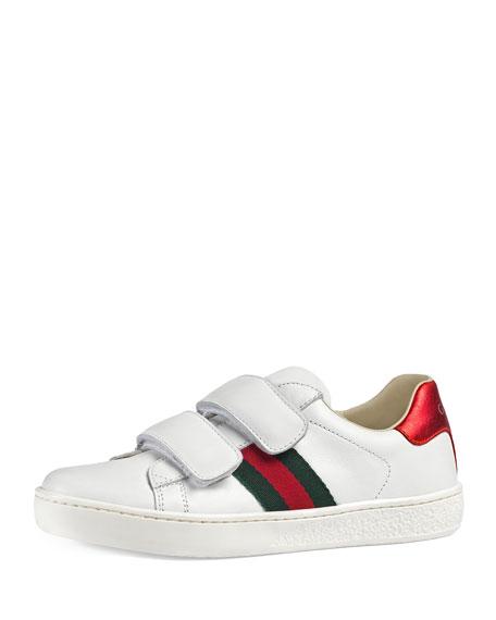aeb8d900a8f Gucci New Ace Web-Trim Leather Sneaker