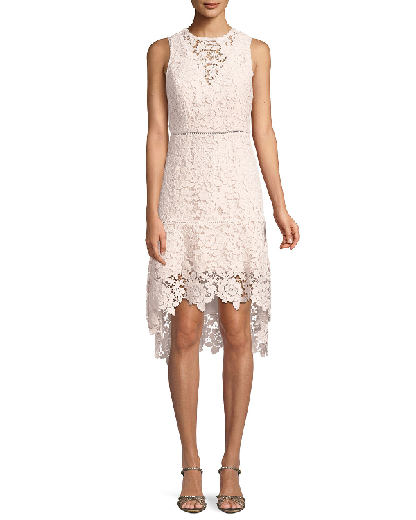 Joie Bridley Lace High-Low Dress In Pink