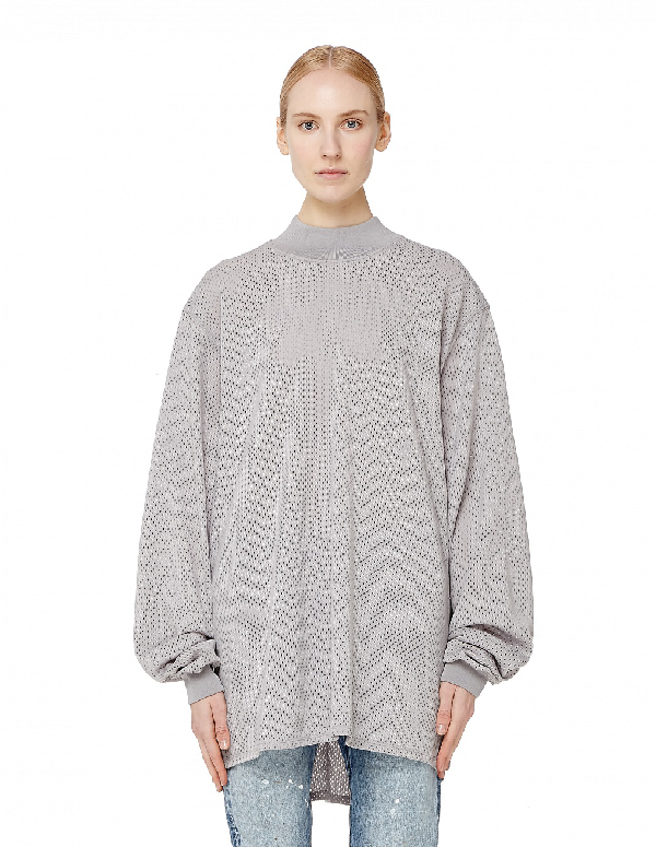 Fear Of God Long Sleeve Mesh T-Shirt In Grey