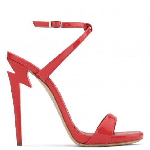 Giuseppe Zanotti - Patent Leather 'G-Heel' Sandal With Sculpted Heel G-Heel In Red