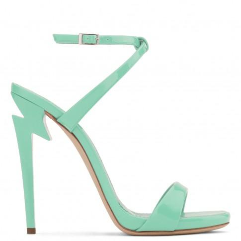 Giuseppe Zanotti - Patent Leather 'G-Heel' Sandal With Sculpted Heel G-Heel In Green