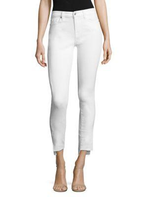 7 For All Mankind Gwenevere Ankle Skinny Jeans With Step Hem In Clean White