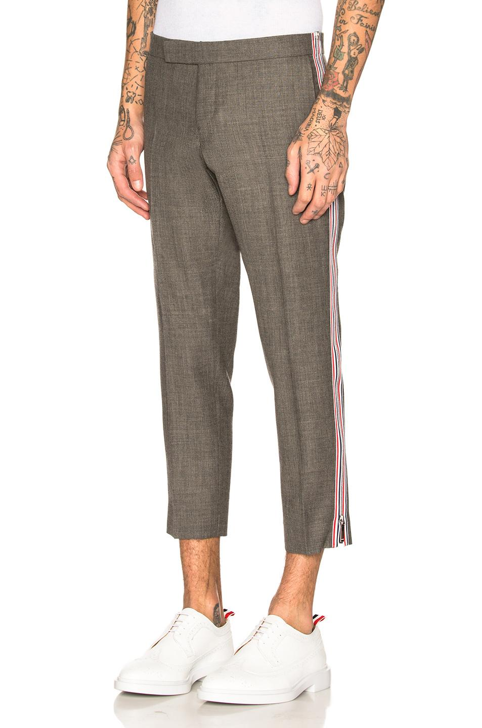 Thom Browne Side Zip Low Rise Skinny Trousers In Gray