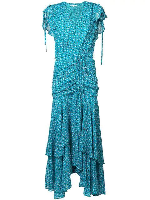 Veronica Beard Samara Ruched Maxi Dress Blue-med