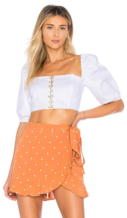 f720978a7be5 For Love & Lemons Monika Puff Sleeve Crop Top In White Denim | ModeSens