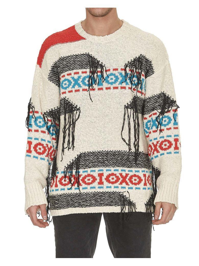 Msgm Fringed Intarsia-Knit Sweater - White