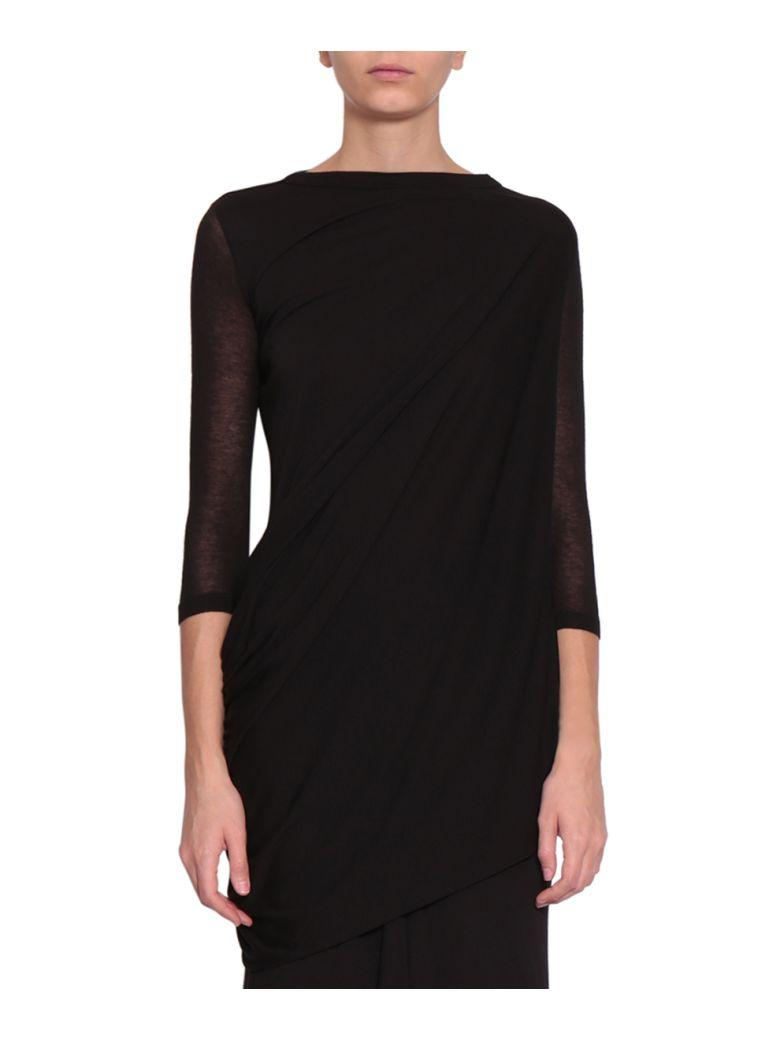 Rick Owens Oversized Viscose Blend Top In Nero