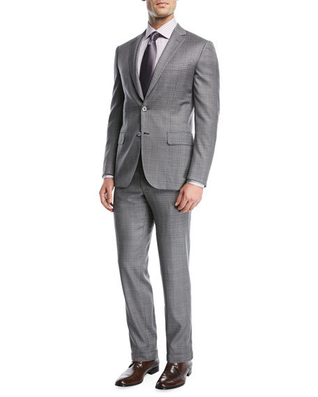 Brioni Plaid Wool Two-Piece Suit In Gray
