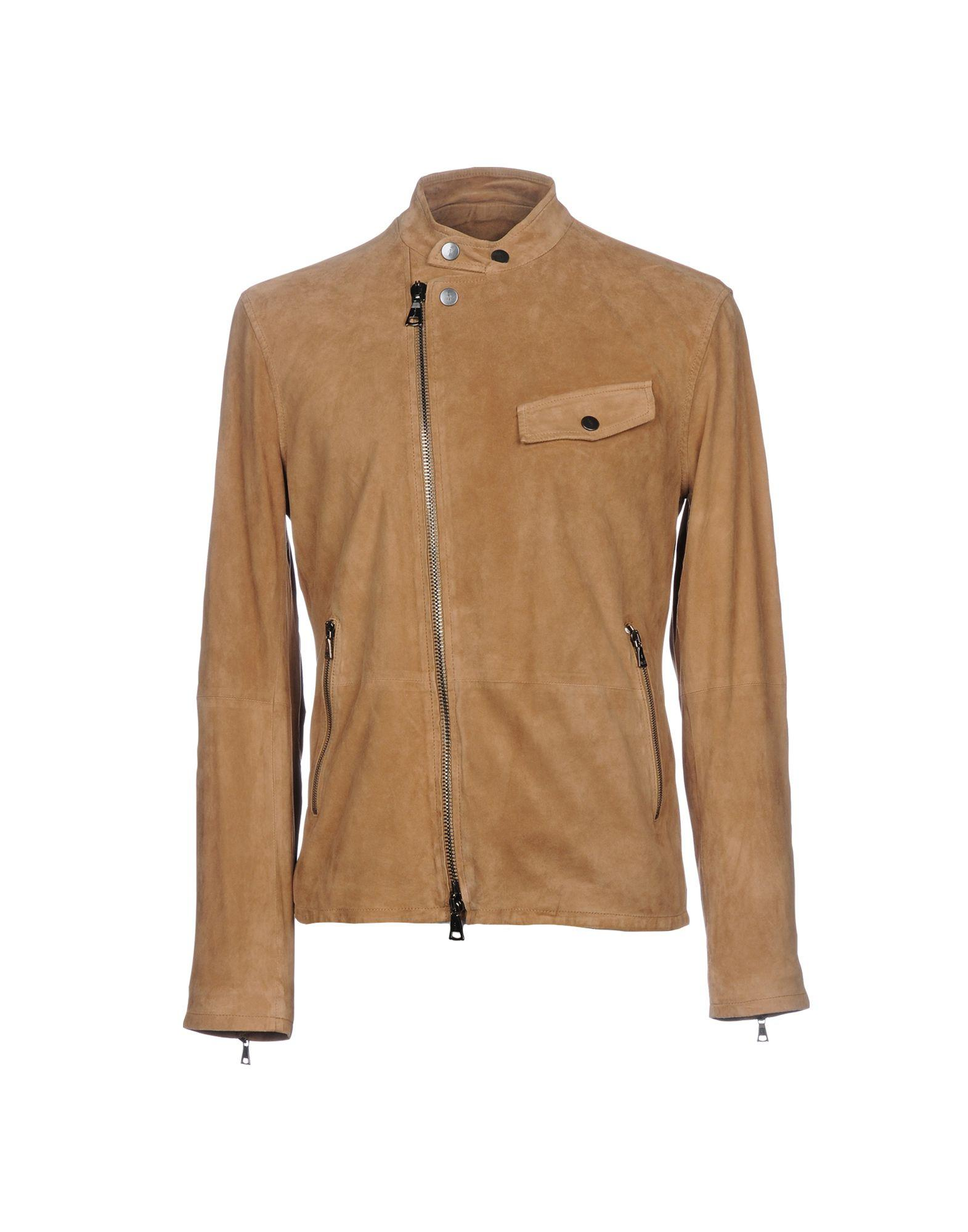 John Varvatos Leather Jacket In Camel