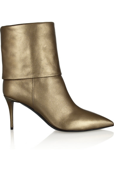 Giuseppe Zanotti Woman Yvette Metallic Leather Ankle Boots Gold