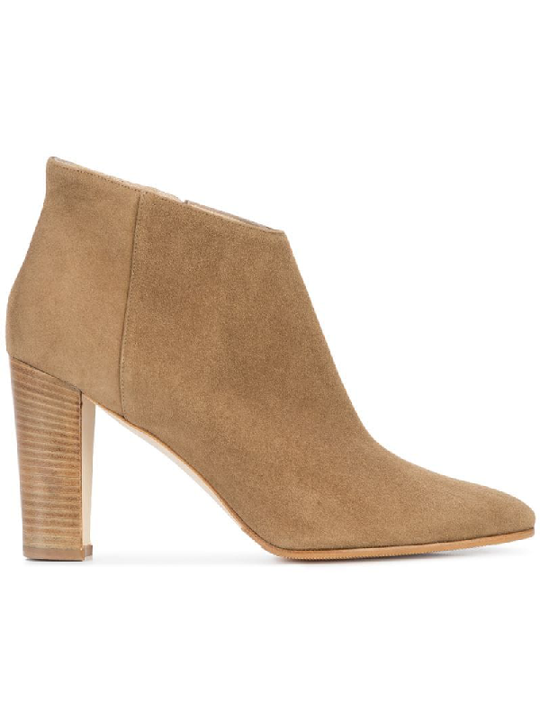 Manolo Blahnik Brusta Low-Cut Suede Ankle Bootie, Beige