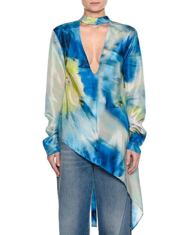 Msgm Long-Sleeve Abstract-Print Silk Blouse W/ Asymmetric Hem In Multi Pattern