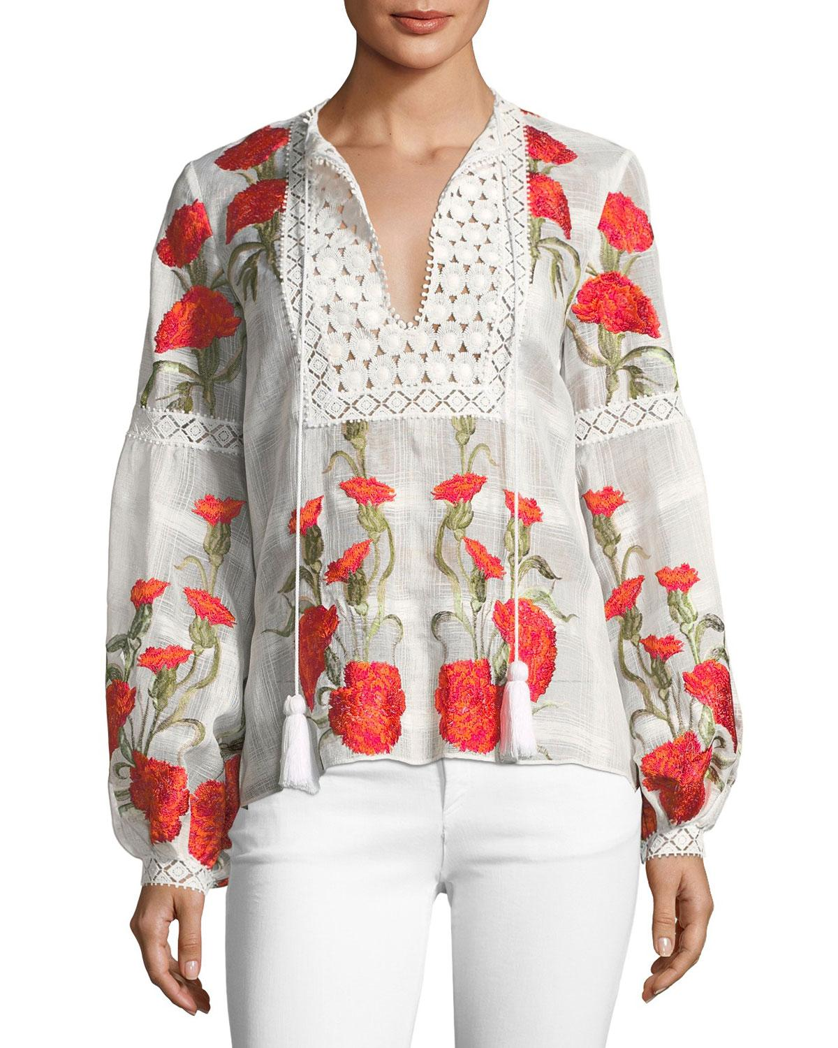 8beb4c526e4e1 Alexis Dorit Split-Neck Long-Sleeve Floral-Embroidered Top In Red ...