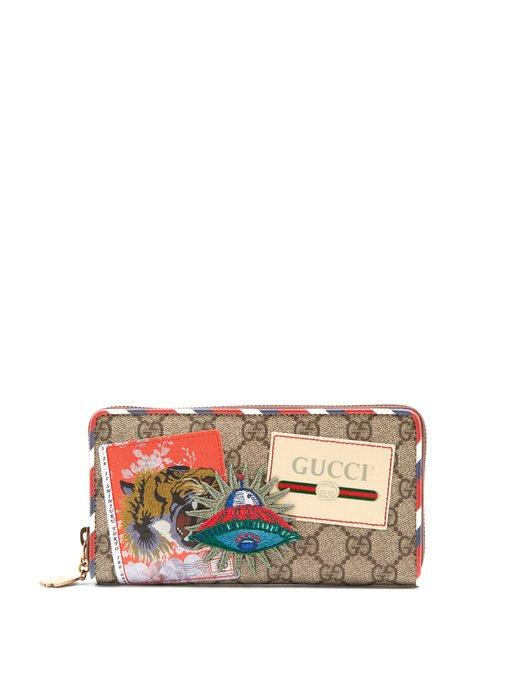 626cbced358c Gucci Gg Supreme Logo And Spaceship-Patch Wallet In Brown Multi ...
