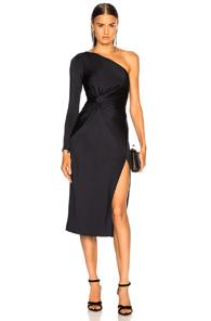 Cushnie Et Ochs One-shoulder Gathered-waist Slit Fitted Jersey Midi Cocktail Dress In Ink