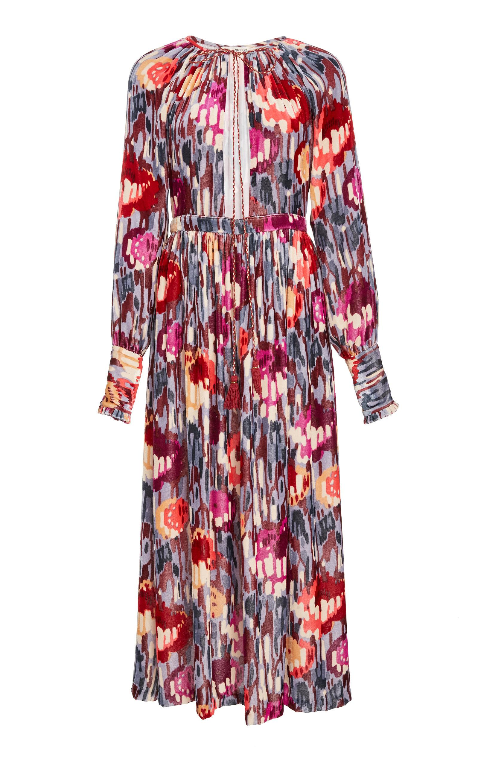 0fc22c71a92 ULLA JOHNSON. Talitha Velvet Dress in Multi.  775 775. Available From 0  Store