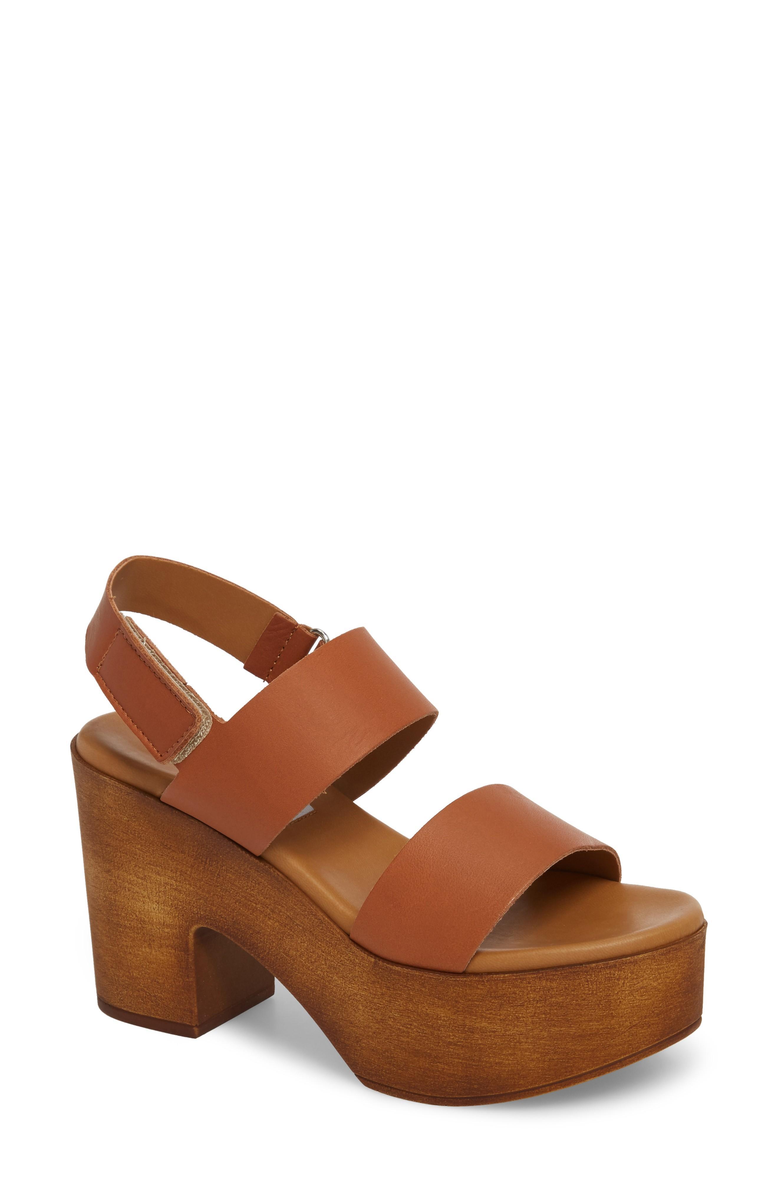 19839329132 Steve Madden Marena Slingback Platform Sandal In Tan Leather