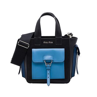 Miu Miu Leather Shoulder Bag In Leather Shoulder Bag Black+Sea Blue+Cornflower Blue Miumiu