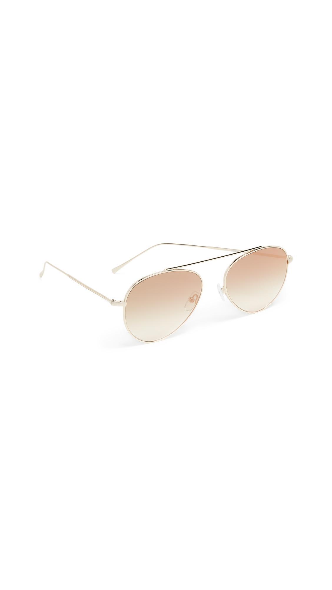 Illesteva Dorchester Gradient Mirrored Sunglasses In Gold/Gold