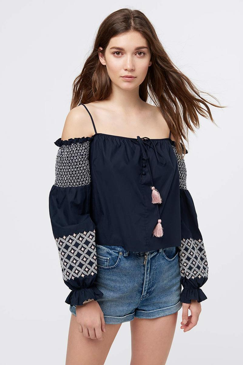 9c7517924b31 Rebecca Minkoff Tiffany Off-The-Shoulder Embroidered Poplin Top In Navy