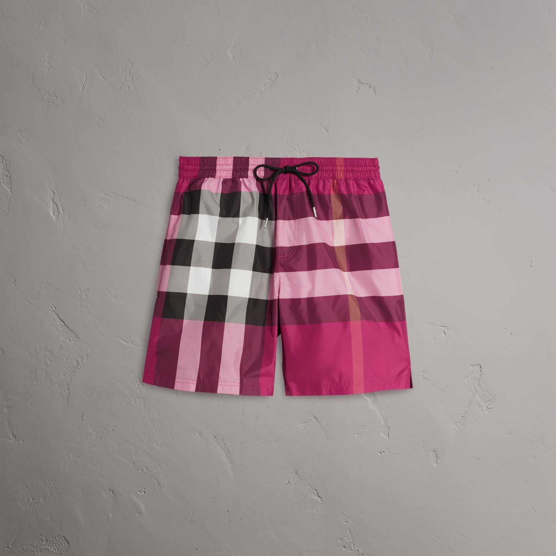 887ce54f0b550 Burberry Check Drawcord Swim Shorts In Bright Fuschia   ModeSens