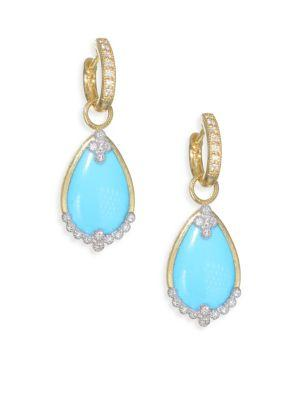 Jude Frances Provence Diamond Champagne Pear Stone Drop Earring Charms In Yellow Gold