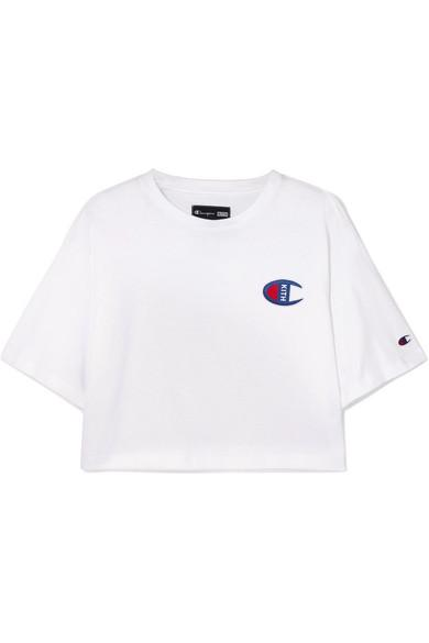 75d9f7e2b6ac2 Kith + Champion Grace Logo-Embroidered Cotton-Jersey T-Shirt In White
