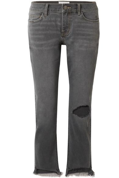 Current Elliott The Cropped Distressed Mid-Rise Straight-Leg Jeans In Gray