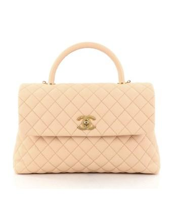 c6c4b2f89ab3 Chanel Pre-Owned: Coco Top Handle Bag Quilted Caviar Medium In ...