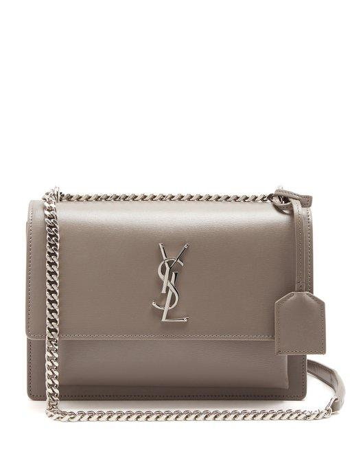 80c89a1044a Saint Laurent Monogram Sunset Medium Leather Cross-Body Bag In Light Grey