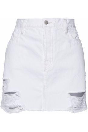 J Brand Woman Distressed Denim Mini Skirt White