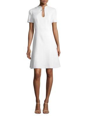 1ecd764e7f40 Elie Tahari Yuki Hardware Splitneck Flare Dress In Optic White ...