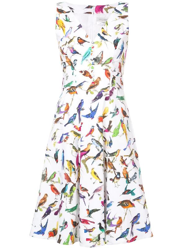 d8bc4daac Carolina Herrera Bird Print Stretch-Cotton Day Dress In White | ModeSens