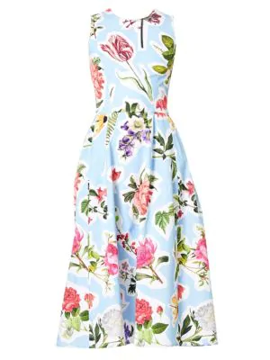 469341f7db6ab Carolina Herrera Sleeveless Floral-Print Cotton Faille Fit-And-Flare Midi  Dress,