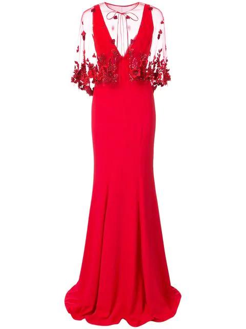 b75edb33957 Marchesa Notte 2-Piece Red Crepe Evening Gown W/ Cape | ModeSens